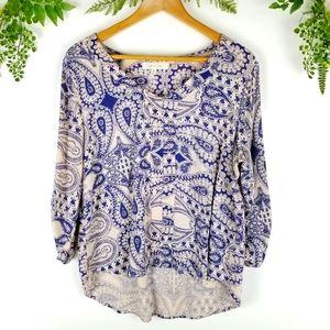 🌼EDEN & OLIVIA blue paisley 3/4 sleeve blouse PL